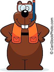 Cartoon Gopher Snorkeling