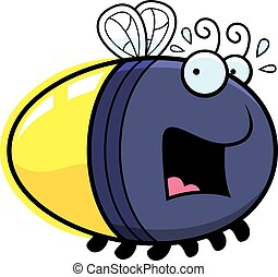 Scared Cartoon Firefly - A cartoon illustration of a firefly...