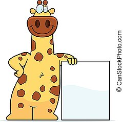 Cartoon Giraffe Sign