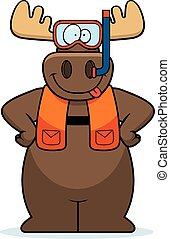 Cartoon Moose Snorkeling - A cartoon illustration of a moose...