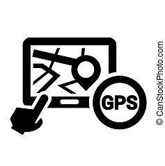 black gps icon - Black Elegant Navigation Icon on white...
