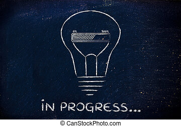 funny lightbulb with progress bar inside, innovation and new...