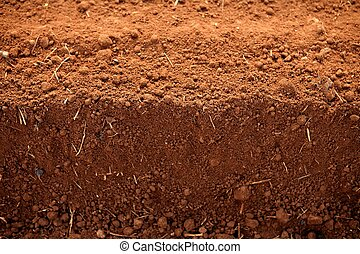 Ploughed red clay soil agriculture fields ready to sow