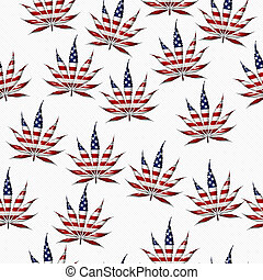Marijuana in the USA Leaf Pattern Repeat Background -...