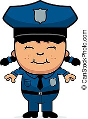 Girl Police Officer - A cartoon illustration of a police...