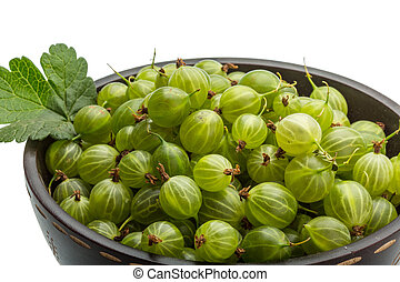 Gooseberries - Green Gooseberries with leaf isolated on...