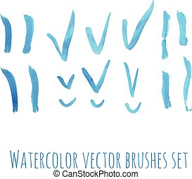 Brushes watercolor set. - Brushes and checks blue watercolor...