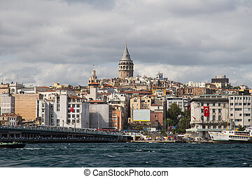 Galata, Istanbul - Galata Tower and Galata Bridge in...