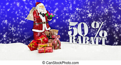 santa claus - merry christmas 50 percent discount winter...
