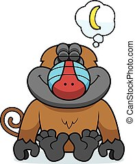 Cartoon Baboon Dreaming - A cartoon illustration of a baboon...
