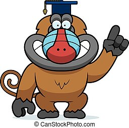 Cartoon Baboon Professor - A cartoon illustration of a...