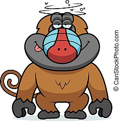 Cartoon Stupid Baboon - A cartoon illustration of a stupid...