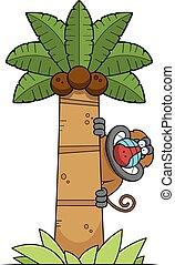 Cartoon Baboon Tree - A cartoon illustration of a baboon in...