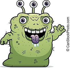 Ugly Alien Waving - A cartoon illustration of an ugly alien...
