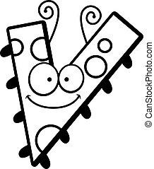 cartone animato, lettera, V, insetto,
