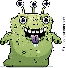 Ugly Alien Standing - A cartoon illustration of an ugly...