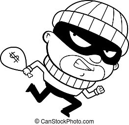 Burglar Running - A cartoon burglar running away with a...