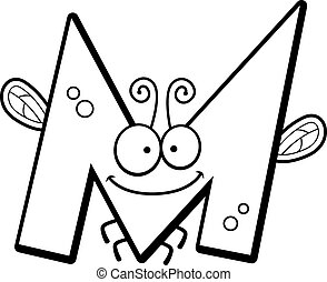 Cartoon Letter M Bug - A cartoon illustration of the letter...
