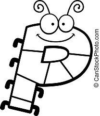 cartone animato, lettera, p, insetto,