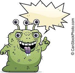 Ugly Alien Talking - A cartoon illustration of an ugly alien...