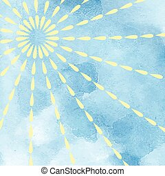 Blue sky bright sun - Blue sky and bright sun watercolor...