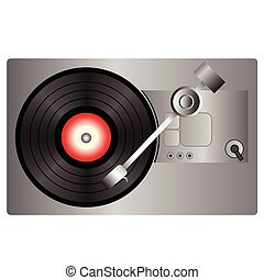 vinyl record player - colorful illustration with vinyl...