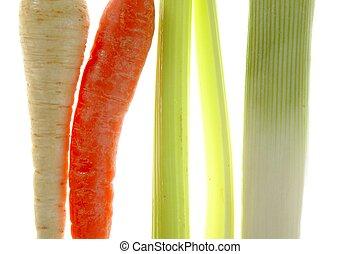 vegetables in a row, turnip, carrot, leek, thistle - Varied...