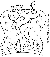 Cow Moon - A happy cartoon cow jumping over the moon.