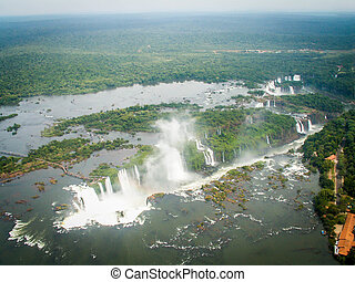 Aerial View Of Iguazzu Falls Landscape - A view from a...