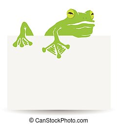 green frog - colorful illustration with green frog and sheet...