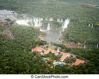 Aerial View Of Iguazzu Falls And Hotel - A view from a...