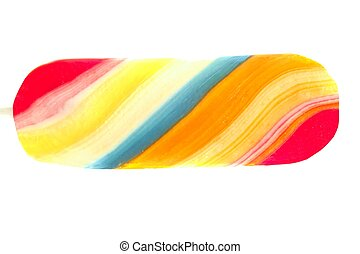 Colorful twisted candy sweet lolipop isolated on white