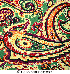 Traditional paisley pattern silk background - Fragment of...