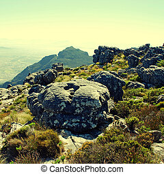 Table Mountain, Cape Town, South Africa - Stone landscape on...