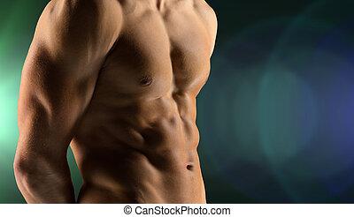 close up of male bodybuilder bare torso - sport,...