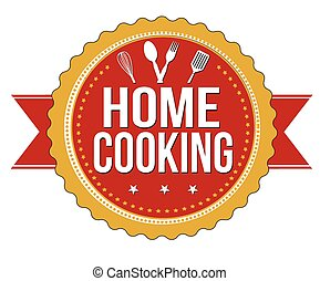 Home cooking label or stamp on white background, vector...