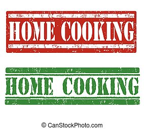 Home cooking stamps - Home cooking grunge rubber stamps on...
