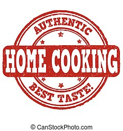 Home cooking stamp - Home cooking grunge rubber stamp on...