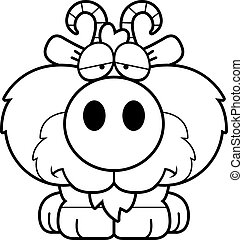 Cartoon Sad Goat - A cartoon illustration of a goat with a...