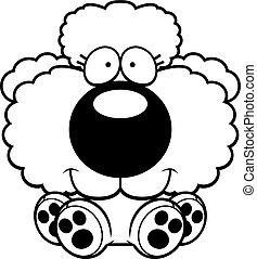 Cartoon Poodle Sitting - A cartoon illustration of a poodle...