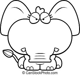 enojado, caricatura, elefante