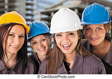 smiling team female construction workers