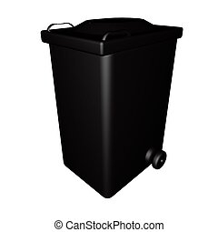 Dumpster - Black dumpster isolated over white, 3d render