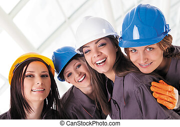 young construction women workers
