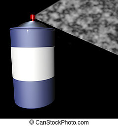 Spray can over black background, 3d render