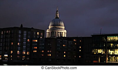 St Paul night from Thames - A night HD clip in London from a...