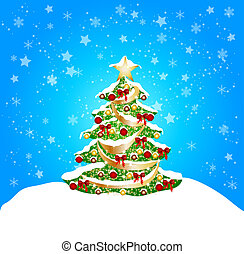 christmas background with snow and coorful tree