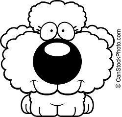 Cartoon Poodle Smiling - A cartoon illustration of a poodle...