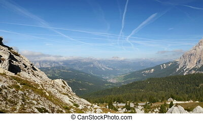 pan over dolomite alps - A pan over dolomites alps valley