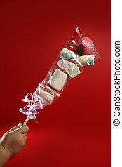 Candy colorful lolipop on child hand over red background
